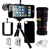 iPhone 5 / 5S Camera Lens Kit including 8x Telephoto Lens / Fisheye Lens / Macro Lens / Wide Angle Lens / Mini Tripod / Universal Phone Holder / Hard Case for iPhone 5 & 5S / Velvet Phone Bag / CamKix® Microfiber Cleaning Cloth - Awesome Accessories and Attachments for Your Apple iPhone 5 or 5S Camera (Black)
