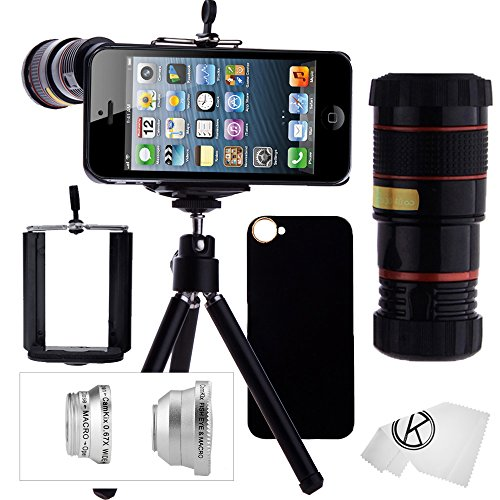 Iphone 5 / 5S Camera Lens Kit Including 8X Telephoto Lens / Fisheye Lens / Macro Lens / Wide Angle Lens / Mini Tripod / Universal Phone Holder / Hard Case For Iphone 5 & 5S / Velvet Phone Bag / Camkix® Microfiber Cleaning Cloth - Awesome Accessories And A