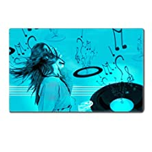 buy Liili Premium Table Mat 24 X 15 X 0.2 Inches Girl Listening To Music Over A Cyan Musical Background Photo 625975