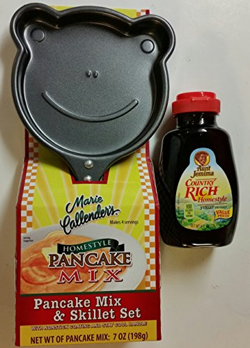 Whimsical Pancake Breakfast Bundle - One Frog Face Non-Stick Skillet, One Package Marie Callender Homestyle Pancake Mix, One 8 Oz. Bottle Aunt Jemima Country Rich Homestyle Syrup