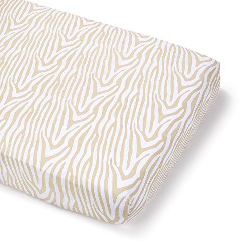 Summer Infant Full Size Crib Sheet, Beige Zebra