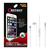 Chevron Ultra Clear HD Screen Guard Protector For Lenovo A7000 Plus With Chevron 3.5mm White Stereo Earphones...
