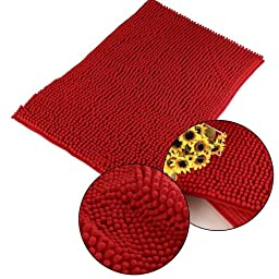 Homecube Cheap High Quality Thick Shag Microfiber Chenille Anti Slip Floor Mat Doormat Bedroom Kitchen Area Rug Carpet 16 X 24 in,20 x 32 in,3 Colors Available,Ultra Soft. (Red, 20 x 32 in)