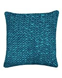Nitin Goyal London Hand 50 x 50 cm Large Smocked Flower Cushion, Teal