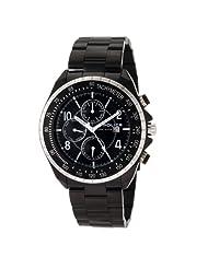 Police Men's PL-12777JSBS/02MA Navy MF Black Dial Black IP Steel Bracelet Watch