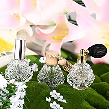 H&D Vintage Peacock Shape Glass Empty Perfume Bottles Spray Wedding Gifts Decor Set 3