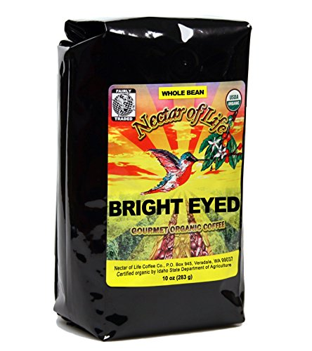 Bright Eyed Medium Dark Roast Coffee, from Nectar of Life. Whole Bean Coffee. Full Body. Thick & Rich. Central & South American Coffee. 100% Organic Coffee. 100% Fair Trade Coffee. FDA Cert. 10oz Bag (Caribou Decaf Coffee Whole Bean compare prices)