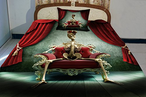 Anlye Dorm Bedding Of Home Decorating Ideas 2 Sides Printing Visual Designers Of Human Skull Bed Sheets With 2 Satin Decorative Pillow Covers Queen front-463377