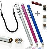 Ciscle 金属繊維タイプ ペン先交換式 スタイラスペン スタンドに最適 iPhone iPad スマートフォン対応 静電容量式 タッチパネル用タッチペン (ピンク+ブルー+シルバー)