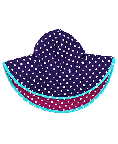 RuffleButts® Little Girls Reversible Polka Dot Swim Hat - Pink/Purple - 12m-3T