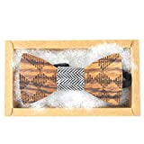 Handmade Men's Classic Wedding Wooden Bow Tie Gift for Him (Stripe)