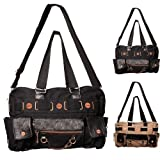 Banned Alternative Wear Women's Clothing Over Shoulder Bag BLACK Bronze faux leather canvas studs