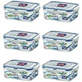 (Pack of 6) Lock&Lock Rectangular Food Container, Short, HPL806, 1-1/2-Cup, 11.8 Oz