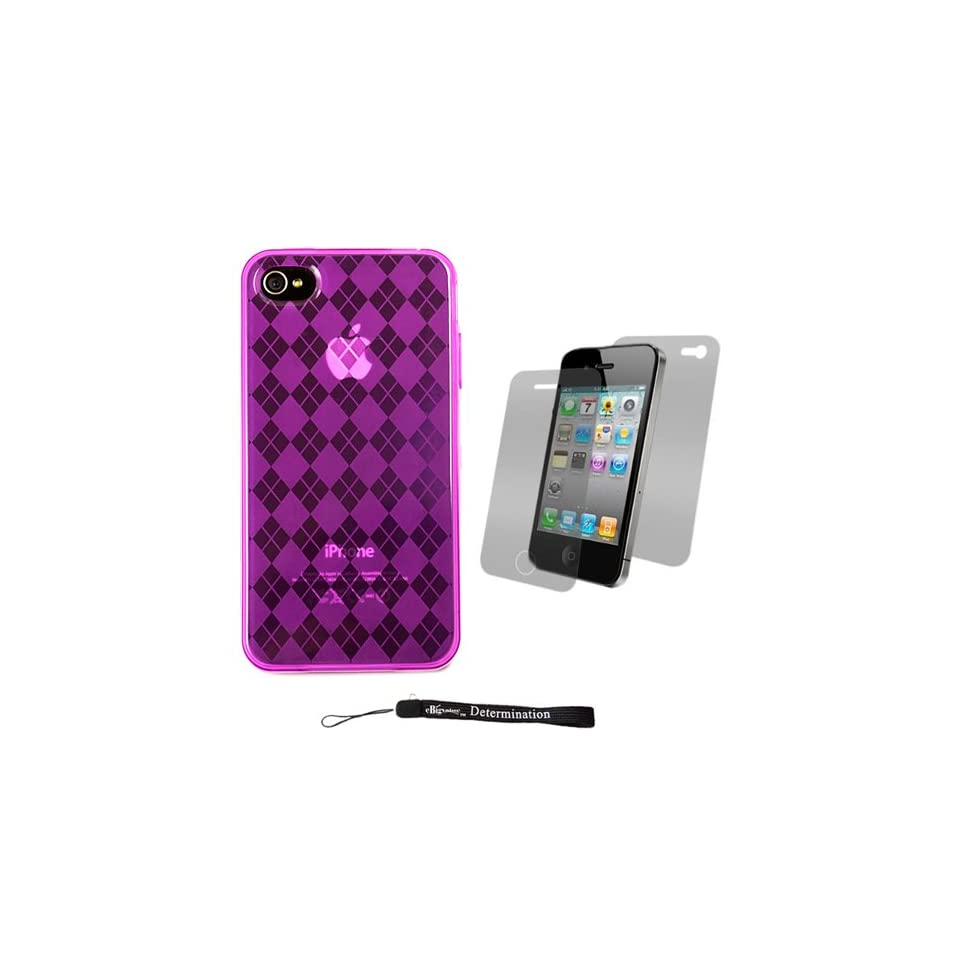 Magenta Durable TPU Skin Cover Case with Back Argyle Design for Apple iPhone 4 ( 4th Generation 16GB 32GB   AT&T and Verizon ) + Includes Anti Glare Screen Protector Guard Cell Phones & Accessories