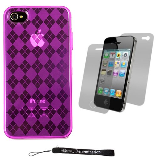 Purple Durable TPU Skin Cover Case with Back Argyle Design for New Apple iPhone 4 ( 4th Generation 16GB 32GB - AT&T and Verizon ) + Includes Anti Glare Screen Protector Guard