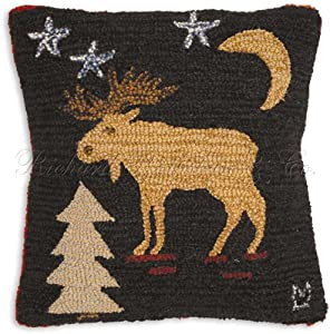 "Starry Night Christmas Moose 100% Wool Handmade Hooked Throw Pillow. 18"" x 18""."