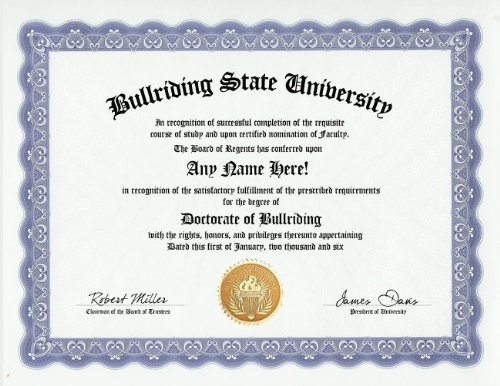 Bull Riding Rodeo Rider Degree: Custom Gag Diploma Doctorate Certificate (Funny Customized Joke Gift - Novelty Item)