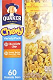 Quaker Chewy Variety Pack 60 Granola Bars (Peanut Butter and Chocolate Chip), 50.7OZ