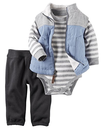 Carter's Baby Boys' 3 Piece Vest Set (Baby), Gray/Light Blue, 3 Months