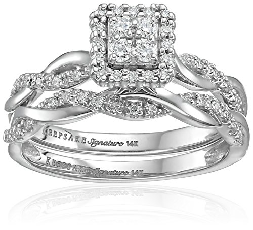 Keepsake Signature 14k White Gold Diamond Twist Engagement Ring (1/3cttw, H-I Color, I1 Clarity), Size 7