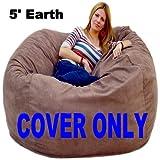 5-feet Cover Large Earth Cozy Sac Bean Bag Chair Love Seat