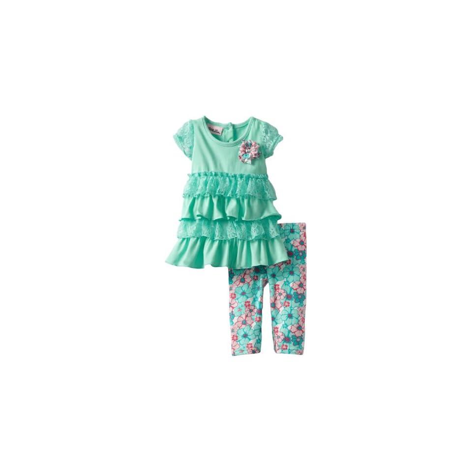 Little Lass Baby Girls 2 Piece Capri Set with Flower Print Legging, Turquoise, 12 Months