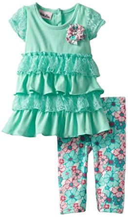 Little Lass Baby-Girls Infant 2 Piece Capri Set with Flower Print Legging, Turquoise, 18 Months