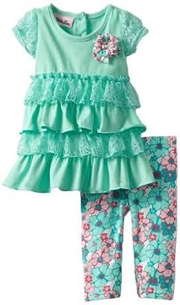 Little Lass Baby Girls' 2 Piece Capri Set with Flower Print Legging, Turquoise, 18 Months