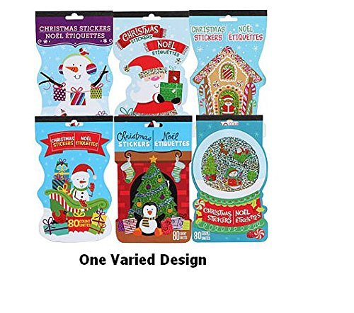 Christmas Stickers - 4 Pages - 80 Count - One Varied Design