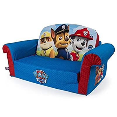 Marshmallow Furniture FLIP OPEN SOFA, Paw Patrol Sit, flip and play with the Paw Patrol themed 2 In 1 Foam Cozy KIDS SOFA