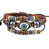 Real Spark Fashion Vintage Triple Beads Strands Mystic Eye Pendant Tribal Leather Wrap Bracelet