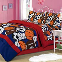 Sporty Sports Themed Comforter & Sheet Set Twin Size
