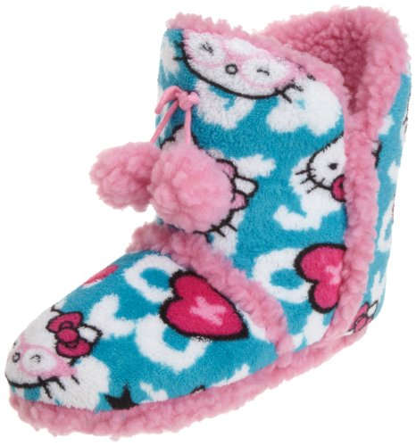 Hello Kitty Junior's Superplush Bootie with Pom Pom and Sherpa Animal, Turqoise, Medium