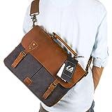"Langforth Genuine Leather Vintage 14"" Laptop Canvas Messenger Satchel Bag Grey 13""(L)x10.5""(H) x 4.1""(W)"