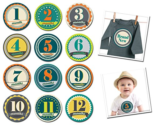 Sticky Bellies Monthly Baby Month Stickers - Badge Boy