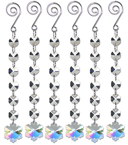 Snowflake Ornament Set - Set of 6 Strands of Iridescent Snowflakes Garland Ornaments - Crystal Snowflake Charms that Hang on Garland Strands (Crystal Heart Garland compare prices)