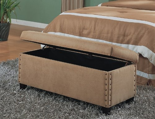 Coaster Classic Storage Bench with Nailhead Trim Design, Tan Microfiber