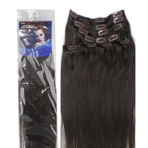 18″ Clip in human hair extensions, 10pcs, 100g, Color #2 (Dark Brown)