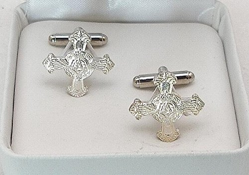 Silver Plated Pewter Distinguished Flying Cross Medal Cufflinks With Gift Box