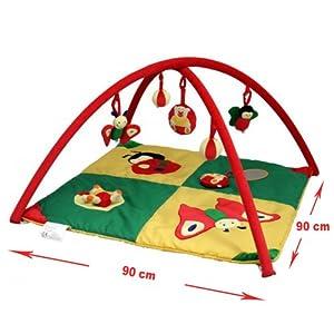 Tapis de parc avec aire de jeux vert, jaune, rouge