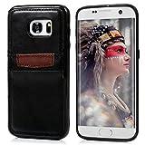 【Badalink】Samsung Galaxy S7 edge ケース ソフトケース ビジネスケース 保護カバー カードポケット付き 防衝撃 柔軟性 ビジネス 飾り ブラック