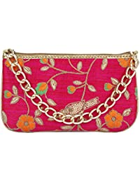 Latest New Fashionable Trendy RANI OR PINK COLOUR CLUTCH With Multi-colour Embroidery With Bird Design In It CLUTCHES...