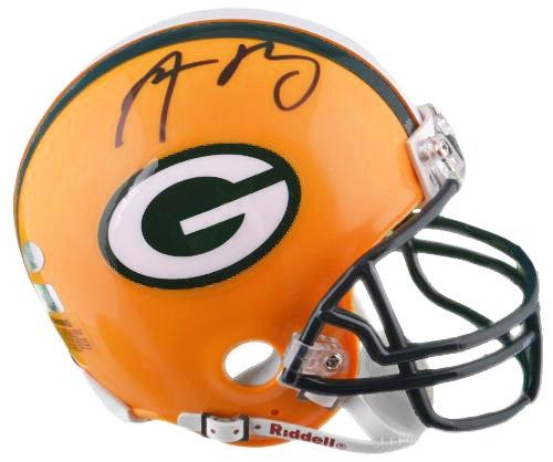 Aaron Rodgers Autographed Mini Helmet - SM Holo - Autographed NFL Mini Helmets