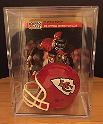 Kansas City Chiefs Throwback NFL Helmet Shadowbox w/ Derrick Thomas card