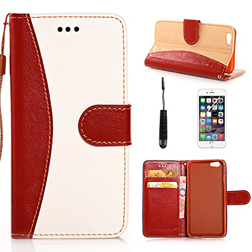 iPhone 6 Plus Case Cover, iPhone 6 Plus Wallet Case Leather, HKW Lace Pattern PU Leather Wallet Type Magnet Design Flip Stand Case with Card Slots, Cash Compartment and Detachable Wrist Strap for Apple iPhone 6 5.5
