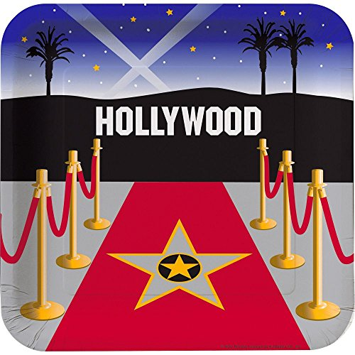 Creative Converting Mens Reel Hollywood Deep Dish Square Dinner Plates Black Medium