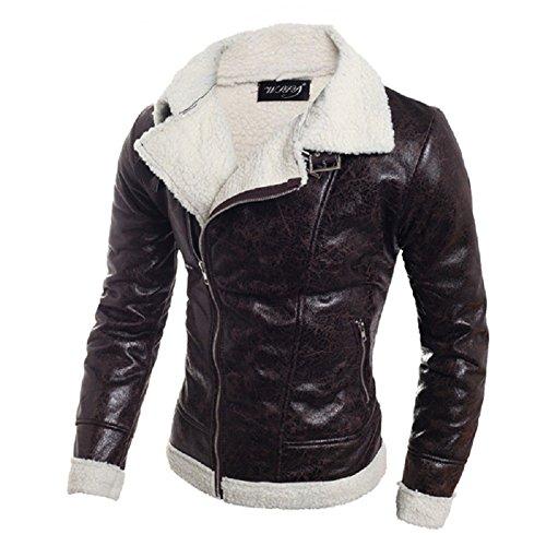 BOMOVO - Invernale - Bottoni - Cappotti Di Pelle - Sottile - Giacca - Uomo