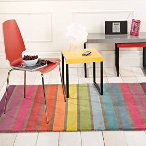 Flair Rugs Illusion Candy Stripe 100% Wool Hand Tufted Rug, Multi, 120 x 170 Cm       Customer review and more news