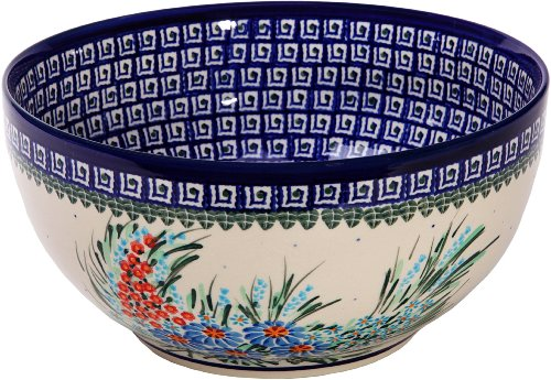 Polish Pottery Ceramika Boleslawiec 0411/169 Royal Blue Patterns with Blue Daisy and Orange Phlox Motif Bowl 23, 10-Cup