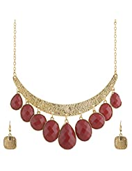 Mask Fashions Gold Metal Necklace With Stone Droplets For Women - B00P6J2EYA